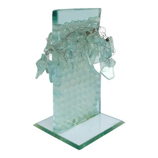 Contemporary Glass & Wire Sculpture Signed and Dated 1996 (France) For Sale