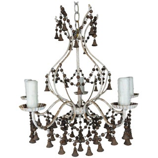 French Painted Chandelier With Wood Drops, Circa 1920 For Sale