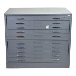 Vintage Mayline Industrial Steel Map Case Flat File Cabinet For Sale