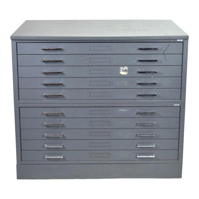 Vintage Mayline Industrial Steel Map Case Flat File Cabinet For Sale