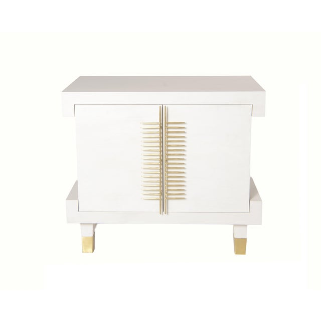 Contemporary Simon Nightstand With Doors (Warm White) For Sale - Image 3 of 3