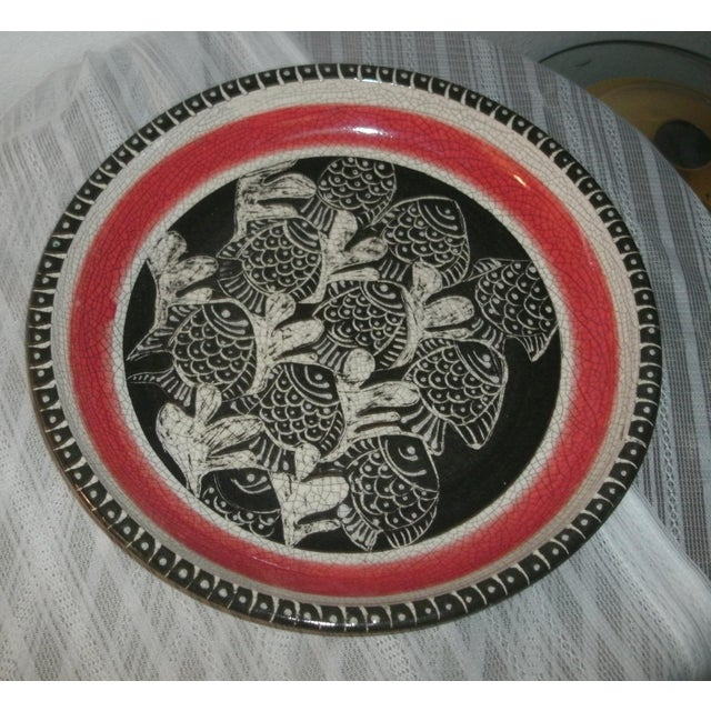 Large Deep Crackle Ceramic Swimming Fish Platter Hand Signed & Numbered For Sale - Image 11 of 11