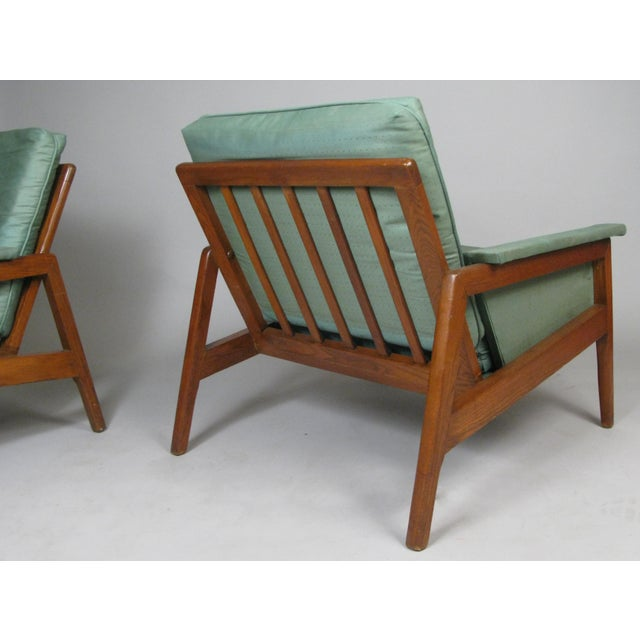 Dark Green 1950s Walnut Lounge Chairs - a Pair For Sale - Image 8 of 9