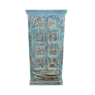 Antique Indian Small Hand Carved Blue Chest Armoire For Sale
