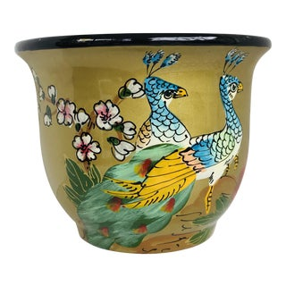 Gold Chinoiserie Peacocks Ceramic Planter