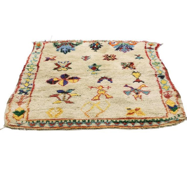 Boho Chic Vintage Berber Moroccan Azilal Rug - 4'3 X 5'00 For Sale - Image 3 of 7