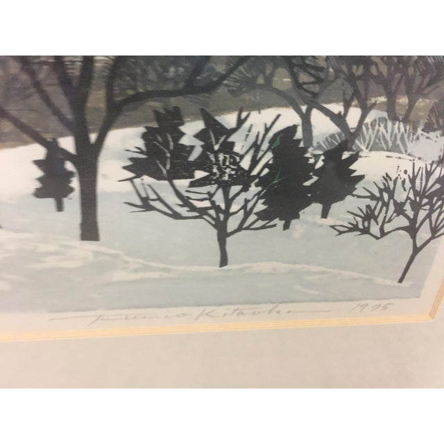 """Asian Fumio Kitoka Woodblock Winter Scene """"Snowy Mountain"""" Signed Limited Edition 1975 For Sale - Image 3 of 5"""
