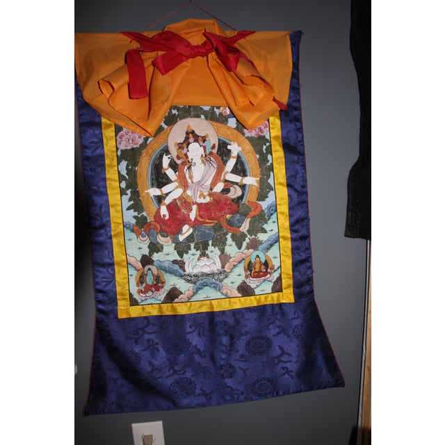 Tibetan Silk Tapestry Wall Hanging For Sale - Image 4 of 6