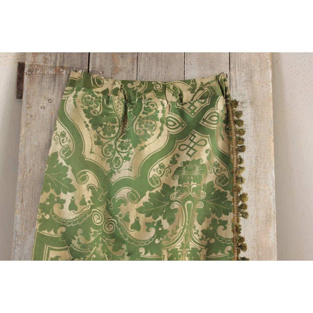 Silk Antique French Green Silk Brocatelle Bed Curtain Hanging W/ Trim Brocade For Sale - Image 7 of 9