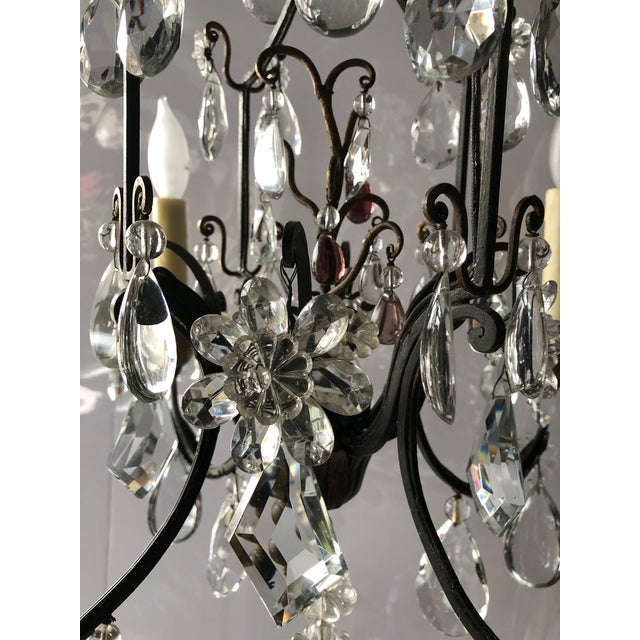 Vintage French Black Iron and Crystal Chandelier For Sale - Image 12 of 13