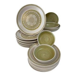 Vintage Franciscan Hacienda Green Dinnerware Set - 21 Pieces For Sale