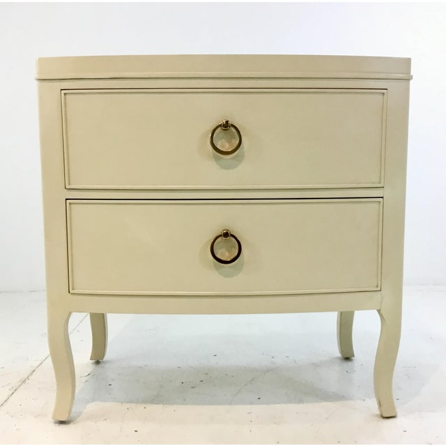 Elegant Bernhardt Modern Off-White Nightstands Pair, painted gold inlay and brass metal hardware, two drawers, curvy legs,...