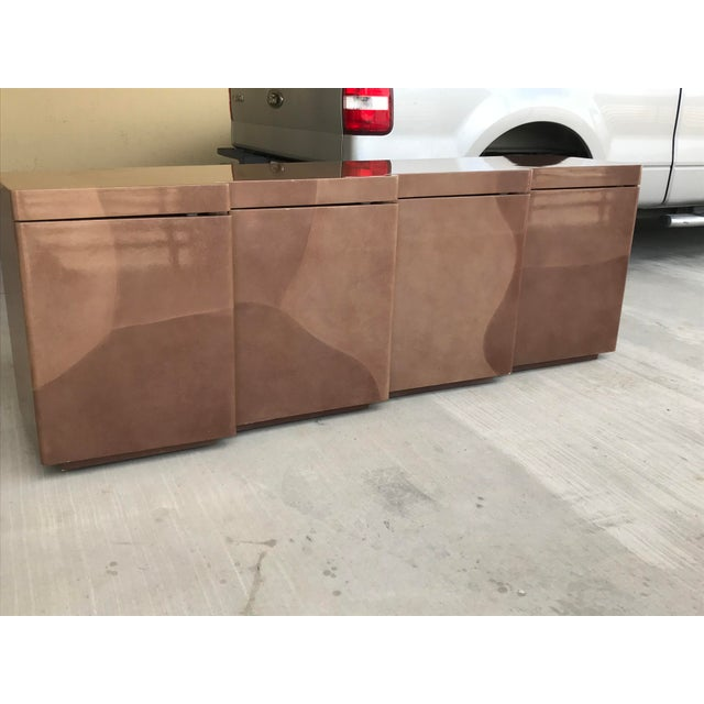 Animal Skin 1960s Hollywood Regency Altro Taru Style Brown Faux Goatskin Lacquered Sideboard For Sale - Image 7 of 10