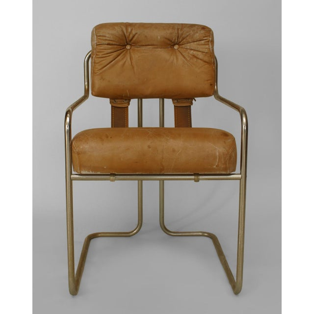 Set of 4 German Art Deco (1930s) chrome arm chairs with brown leather tufted seat and back connected with straps (by...
