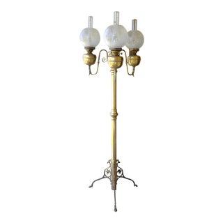 Victorian 3 Font Kerosene Electrified Brass Floor Lamp For Sale