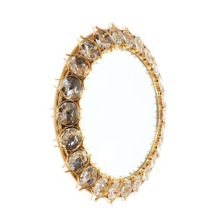 Large Palwa Gilded Brass and Crystal Glass Diamond Backlit Mirror, 1970 For Sale