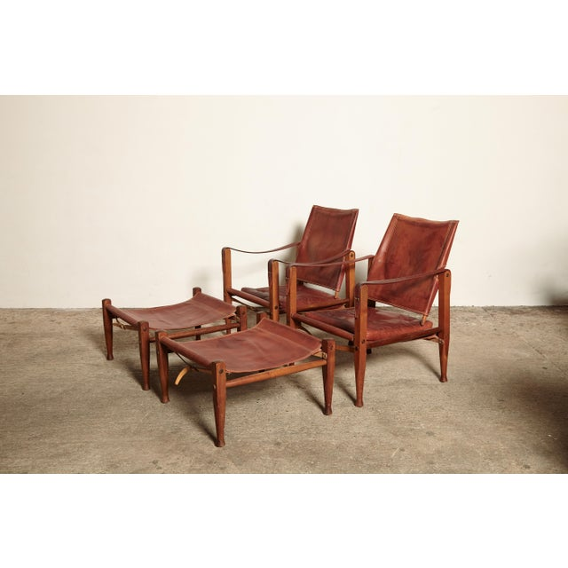 Animal Skin Kaare Klint Safari Chairs and Footstools, Rud Rasmussen, Denmark, 1950s For Sale - Image 7 of 11