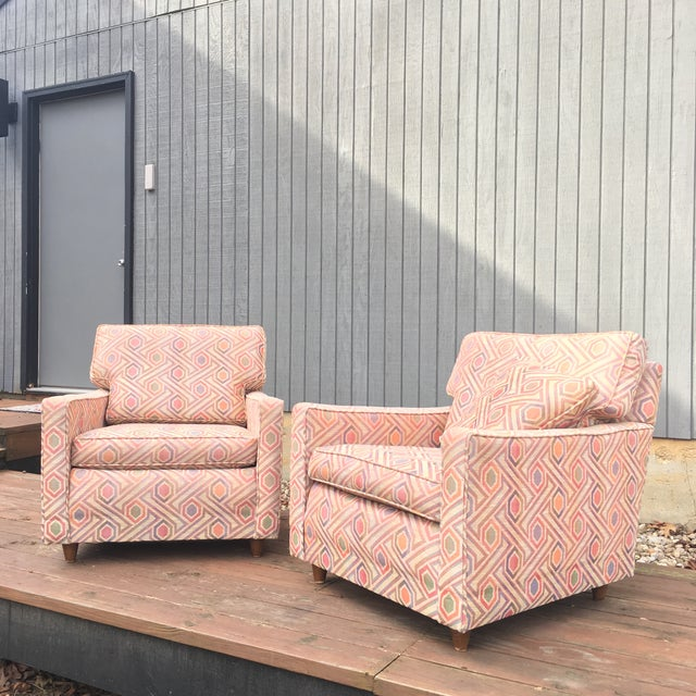 Pink Vintage Mid Century Modern Club Lounge Chairs- A Pair For Sale - Image 8 of 12