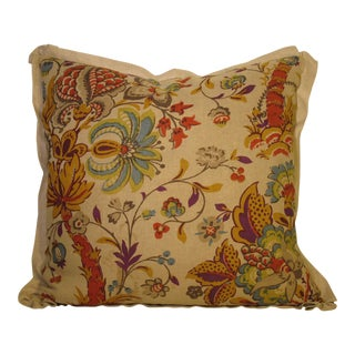 Block Print Linen Pillow Made of Antique Fabric For Sale
