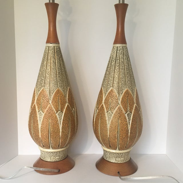 Wood Mid-Century Modern f.a.i.p. Table Lamps - a Pair For Sale - Image 7 of 9