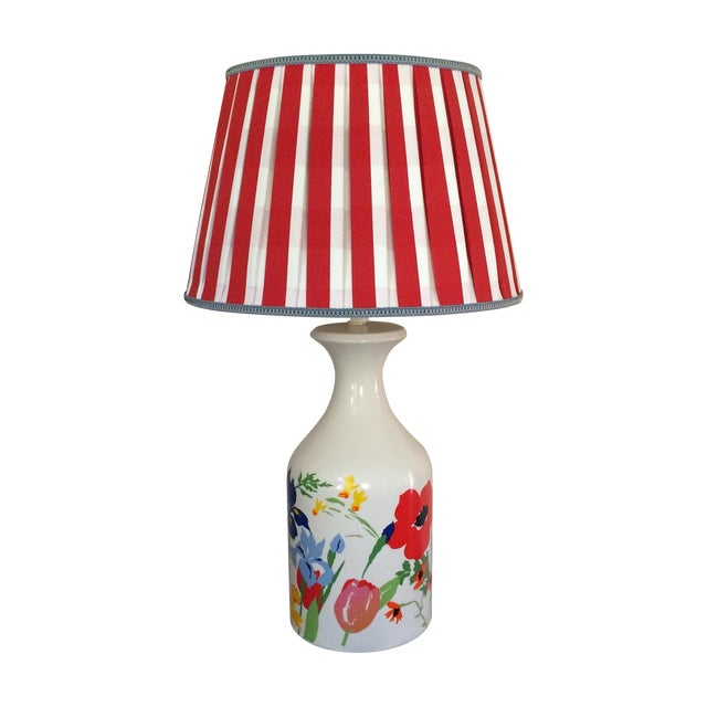 Mid-Century Floral Lamp With Red Custom Shade - Image 1 of 9