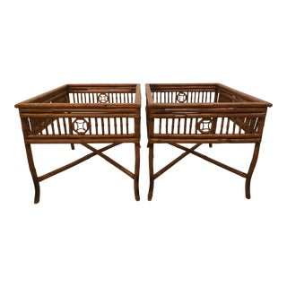 Vintage Brighton Style Burnt Bamboo End Side Tables -A Pair