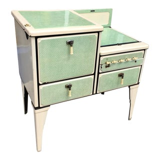 Antique Art Deco Jadite Green Enamel Stove For Sale