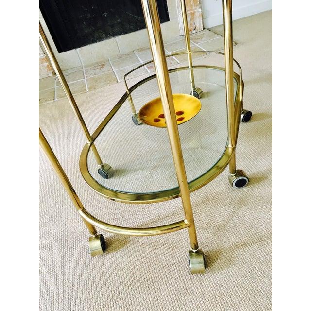 Mid Century Bar Cart Brass Swivel Triple Tiered - Image 10 of 11
