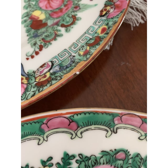 Rose 1970s Vintage Chinese Rose Medallion Famille Rose Hand Decorated Porcelain Plates - a Pair For Sale - Image 8 of 10