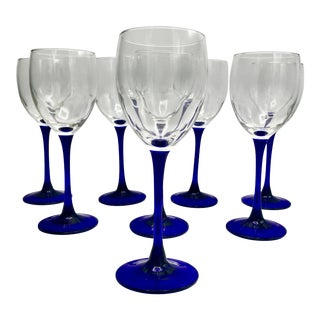 Vintage Cristal d'Arques Neptune White Wine Glasses - Set of 8 For Sale