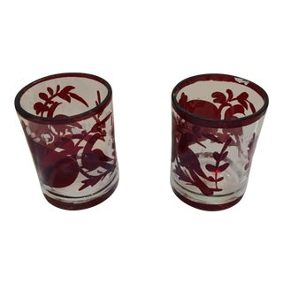 Vintage Ruby Red & Etched Glasses - A Pair For Sale