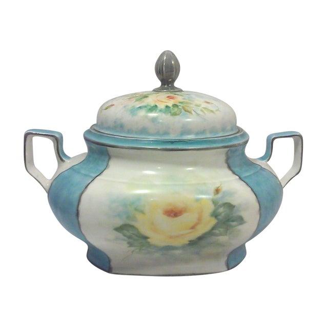 Art Deco Hand Painted Bavarian Porcelain Soup Tureen For Sale