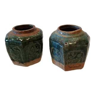 Pair of Chinese Ceramic Jars For Sale