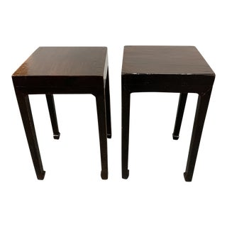 Tansu Design Chinese Elm Ming Side Tables - a Pair. For Sale