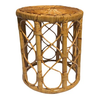 1950 Vintage Rosenthal Netter Style Wrapped Rattan Bamboo Stool For Sale
