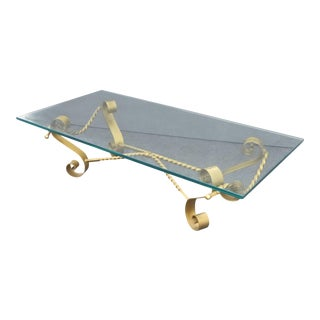 Vintage Spanish Revival Gilt Wrought Iron & Glass Coffee Table For Sale