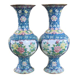 Chinese Canton Enamel Vases - a Pair For Sale