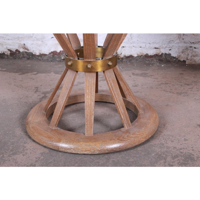 Metal Edward Wormey for Dunbar Style Sheaf of Wheat Marble Top Side Table For Sale - Image 7 of 11