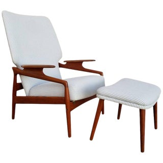 Danish Modern Teak Lounge Chair & Foot Stool