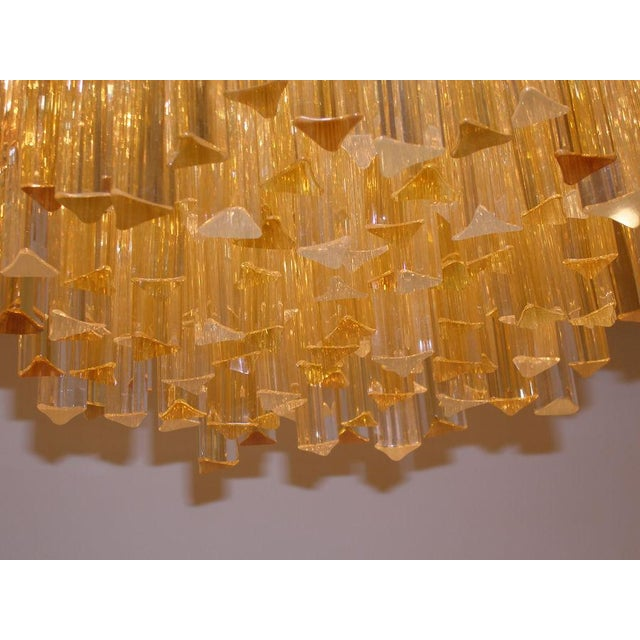 Modern Three-Tiered Amber and Clear Crystal Chandelier For Sale - Image 3 of 5