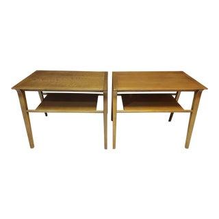 Mid-Century Modern Pair of John Van Koert for Drexel Walnut Side End Tables For Sale