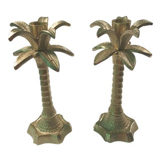Hollywood Regency Chinoiserie Palm Brass Candlesticks - a Pair For Sale