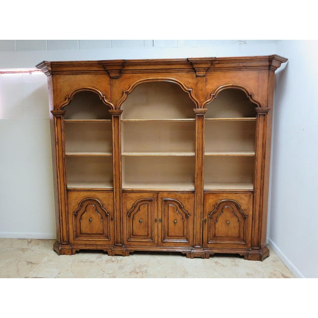 Vintage Italian Monumental 3 Piece Custom Bookcase China Cabinet Hutch For Sale - Image 10 of 10