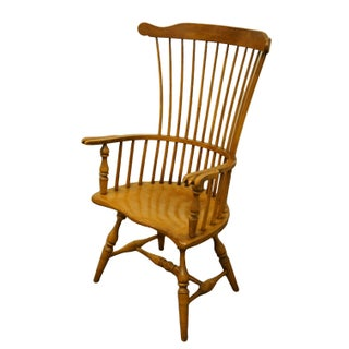 Late 20th Century Drexel Heritage Solid Maple Windsor Style High Back Accent Arm Chair Preview