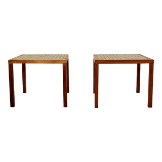 1960s Mid-Century Modern Gordon & Jane Martz Green Tile-Top Walnut Side Tables - a Pair