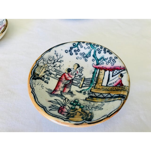 Chinoiserie Sushi / Soy Sauce Dish, Set of 4 For Sale - Image 4 of 11