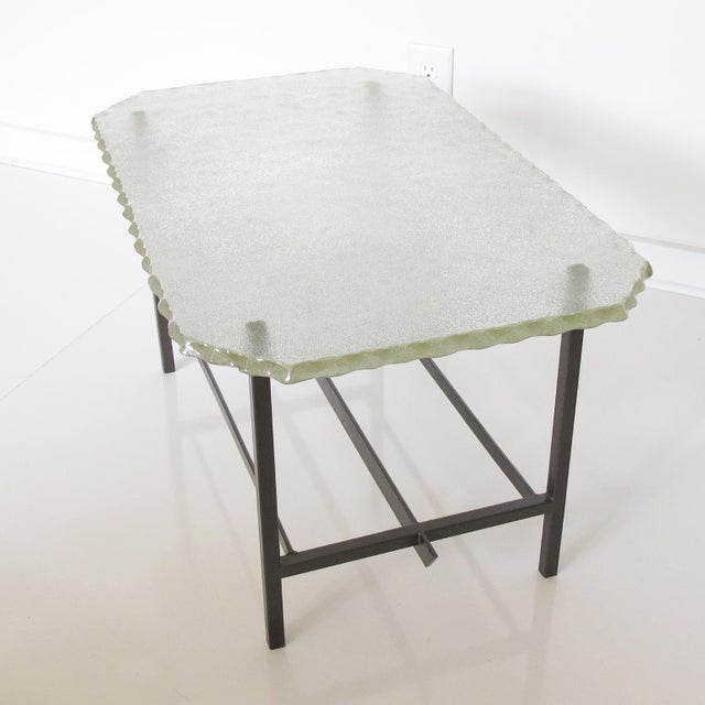 Pietro Chiesa Fontana Arte Style 1960s Italian Glass Slab and Metal Coffee or Cocktail Table For Sale - Image 4 of 10