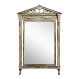 Neoclassical Swedish Painted Pediment Mirror With Caryatides & Garlands, Early 19Th. C. For Sale