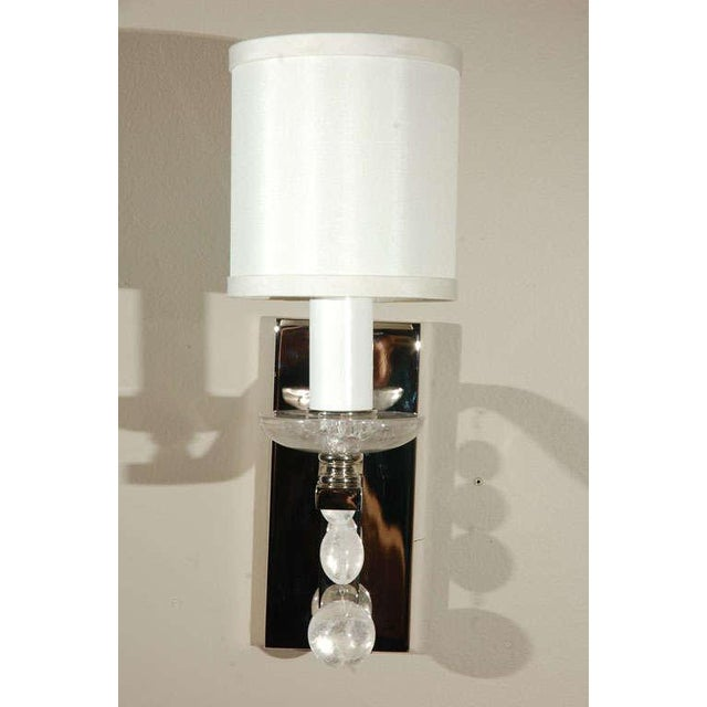 Glass Ball Sconce with Rock Crystal - Image 3 of 5