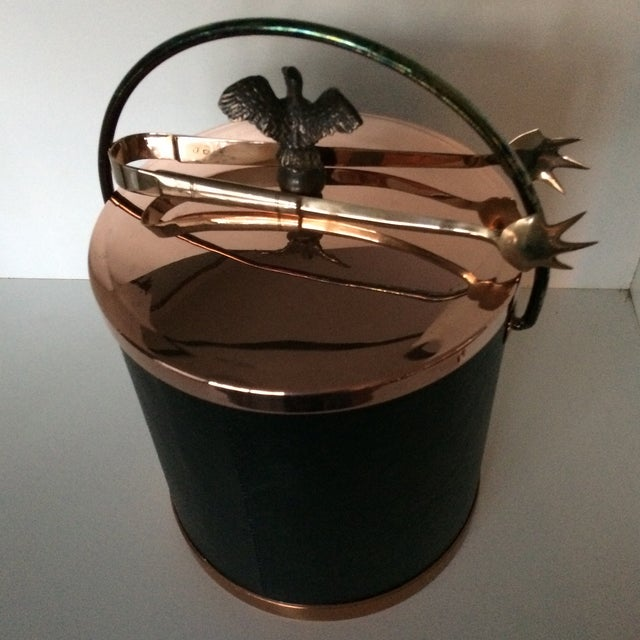 Vintage Mid-Century Lidded Copper Eagle Pull and Black Vinyl Ice Bucket & Brass Ice Tongs For Sale - Image 4 of 13